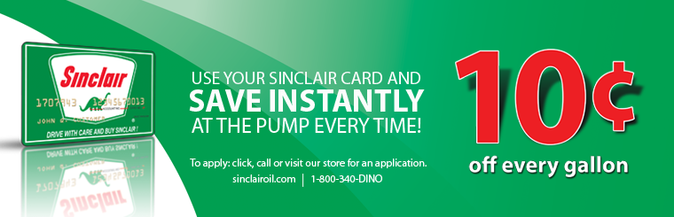 Sinclair Green Card 10 cents off